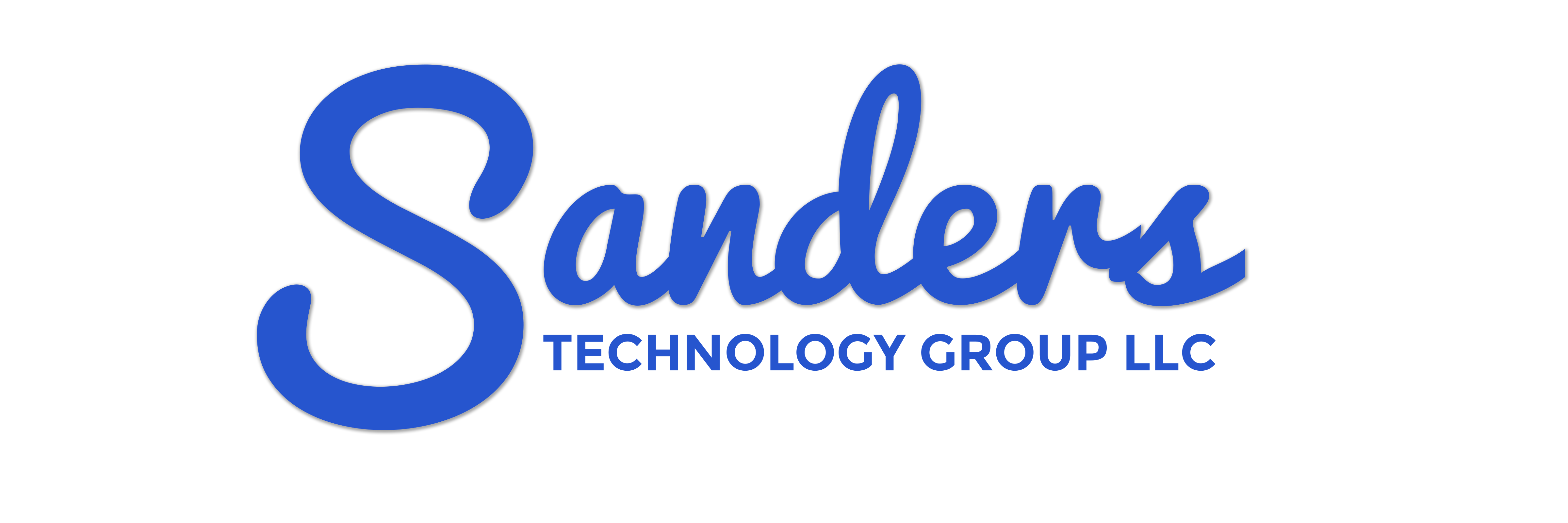Cursive text that spells out Sanders with non-cursive text that spells out technology group llc.