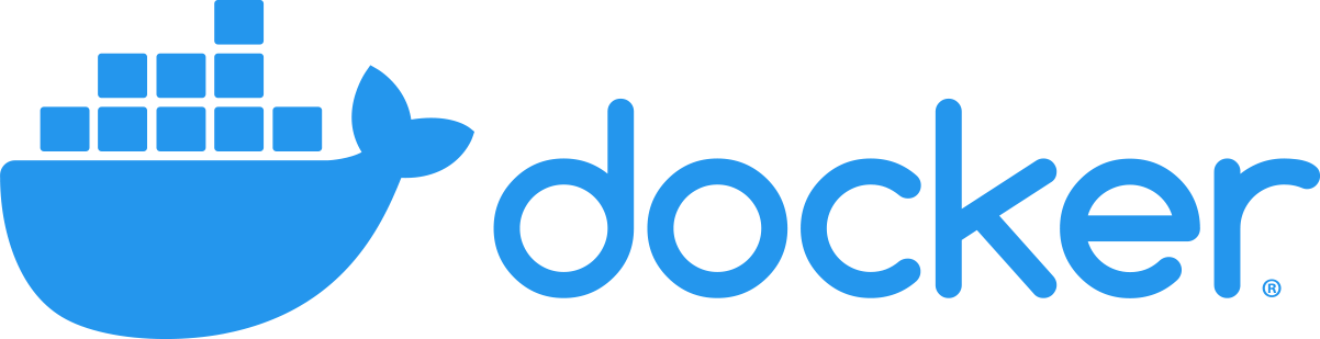 Docker logo. Blue whale with shipping containers on top next to blue word that spells out docker.